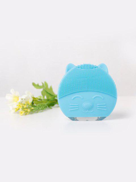 Cute Cartoon Mini Electric Facial Cleaning Brush Ultrasonic Vibration Face Skin Care Massager Silicone Face Cleansing Wash Brush - AQUAMARINE