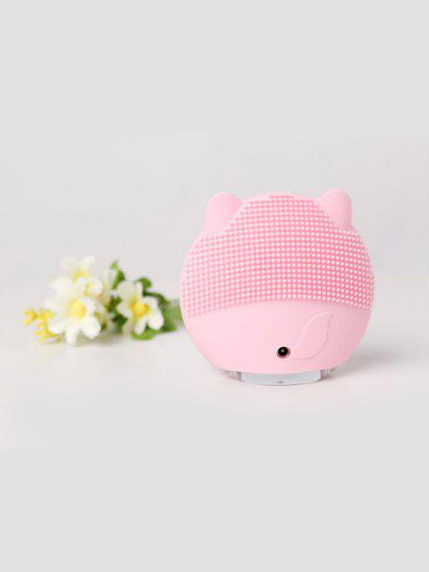 Cute Cartoon Mini Electric Facial Cleaning Brush Ultrasonic Vibration Face Skin Care Massager Silicone Face Cleansing Wash Brush - PINK