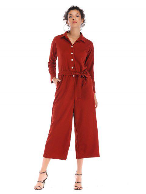 Single breasted waist beltsolid collars long Lapel  Jumpsuits trousers - RED L