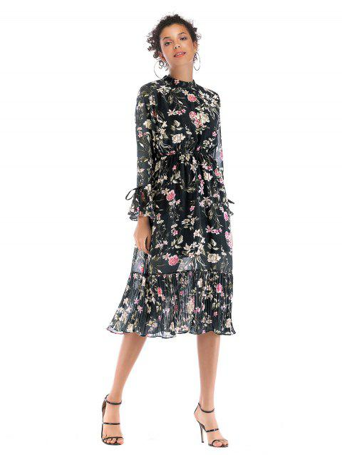 Broken Flower Long sleeves Chiffon Dress  5908 - BLACK XL