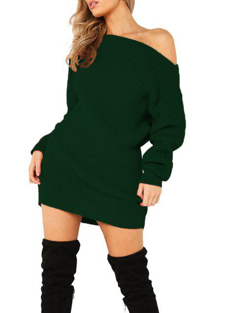 Women's Dew Shoulder Long Sleeve Bodycon Dress - DARK GREEN S