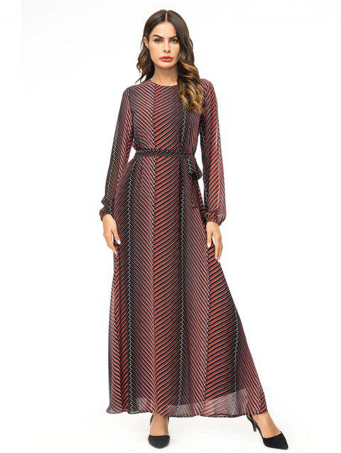 Colorful Stripes Long Chiffon Dress - RED WINE 2XL