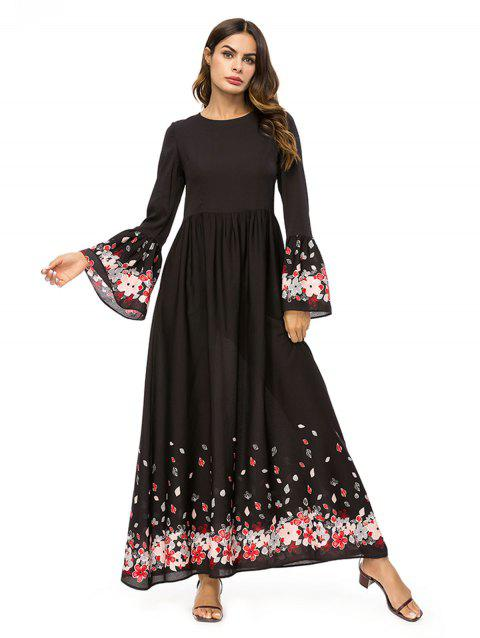 Flared Sleeve Floral Long Dress - BLACK XL