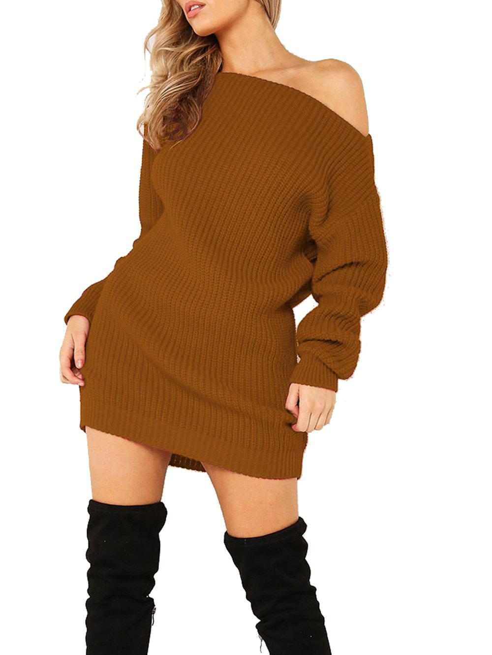 Women's Dew Shoulder Long Sleeve Bodycon Dress - BROWN XL