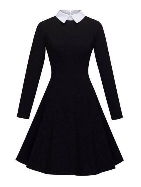 Women's Peter Pan Lapel Collar Long Sleeve  Fit and Flare Dress - BLACK M