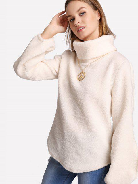 Loose High Collar Puffy Sleeve Hoodie - BEIGE S