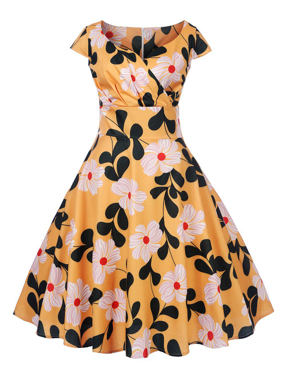 New Women's Vintage 50s 60s Retro Rockabilly Pinup Housewife Party Swing Dress - ORANGE 2XL