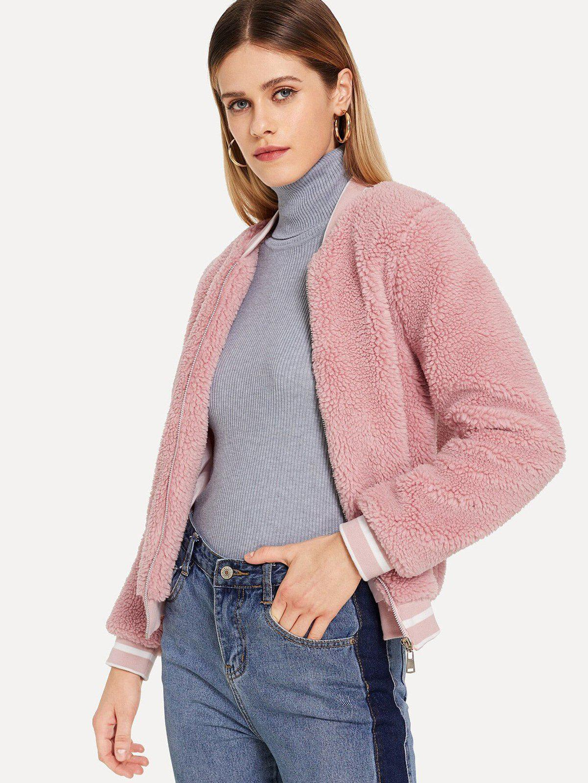 Stand Collar Hairy Short Coat - PINK S