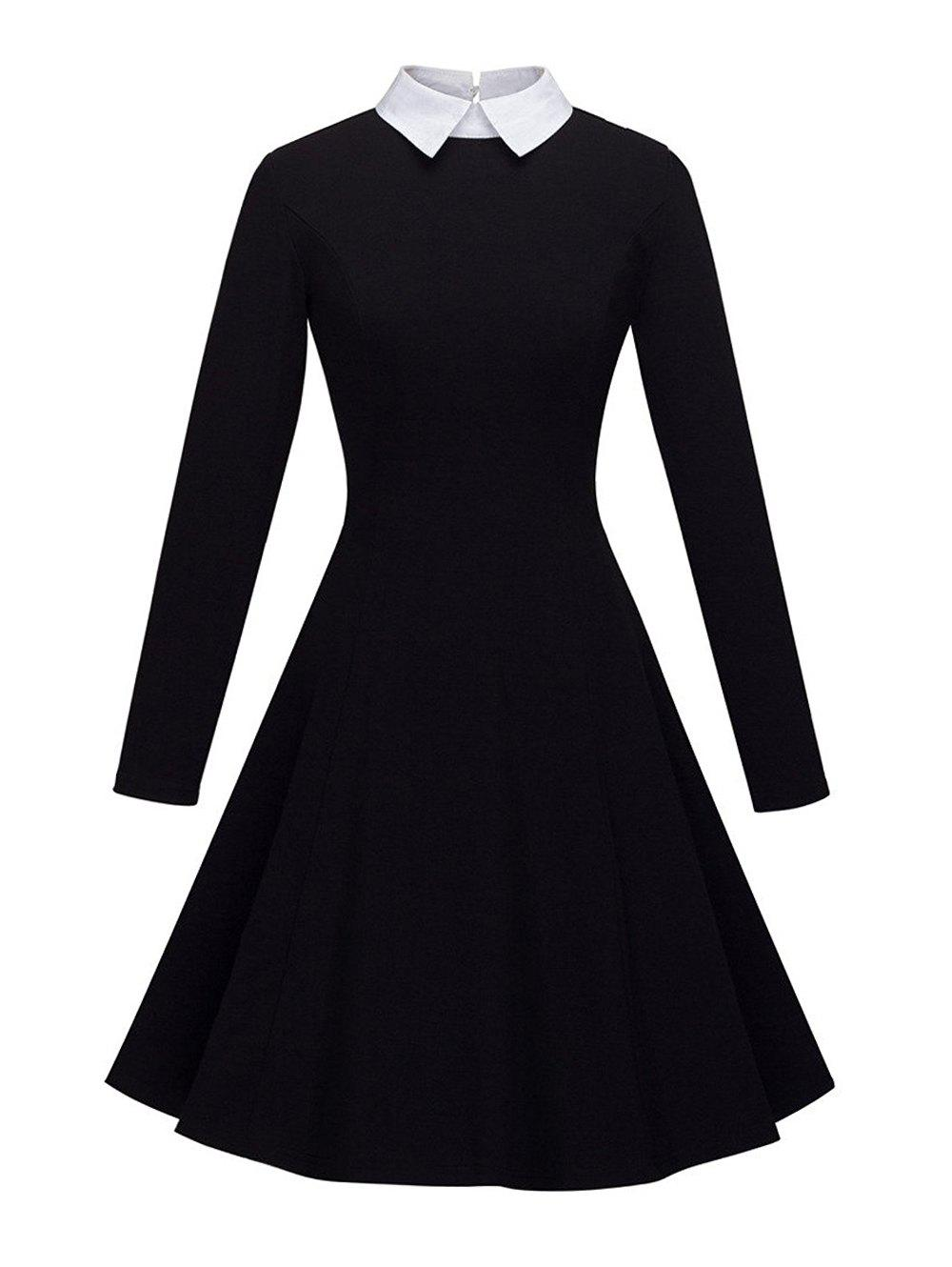 Women's Peter Pan Lapel Collar Long Sleeve  Fit and Flare Dress - BLACK S