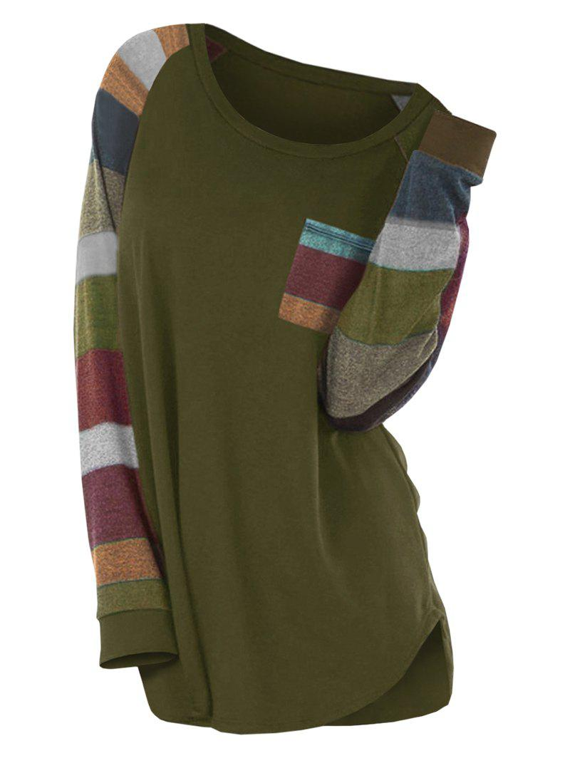 Colorful Stripe Round Neck Long Sleeve Casual T-shirt - ARMY GREEN L