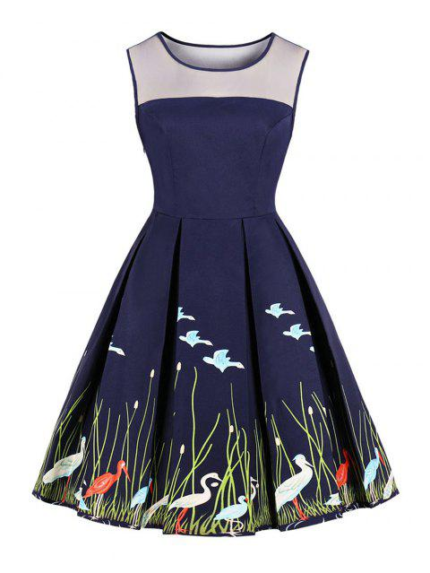 9127cdae838 New Women s Vintage 50s 60s Swan Printing Retro Rockabilly Pinup Housewife  Party Swing Dress - CADETBLUE