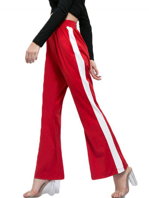 Contrast High Waist Casual Flared Pants - RED L