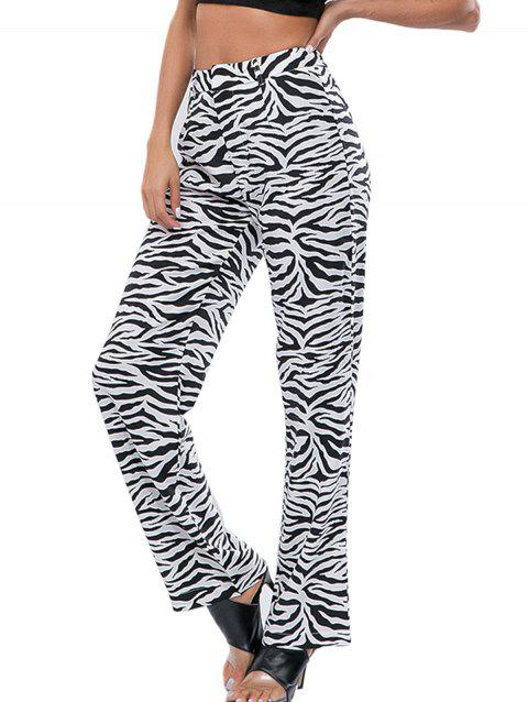 Zebra Striped High Waist Casual Pants - multicolor A M
