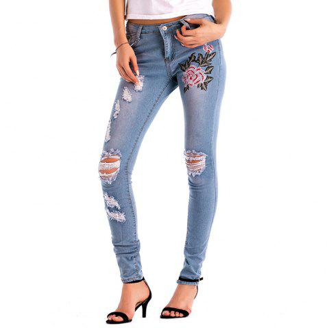 Womens Denim Rose Embroidered Destroyed Frayed Hem Skinny Jeans - BABY BLUE XL