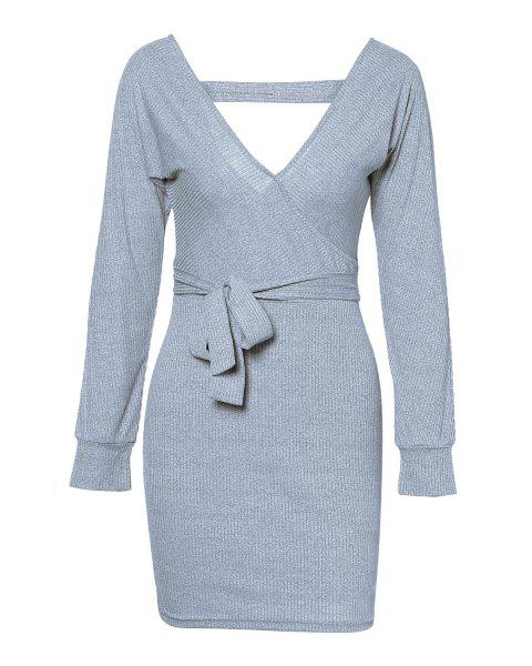 Sexy V-Neck Casual Backless Dress - GRAY XL
