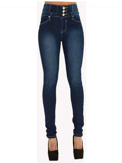 Women  High Waisted Stretch Skinny Denim Jeans - BLUE S