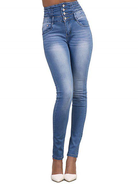 Women  High Waisted Stretch Skinny Denim Jeans - LIGHT BLUE L