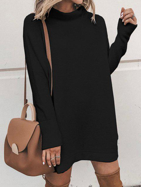 Womens Fashion Round Neck Long Sleeve Sweater Dress - BLACK XL