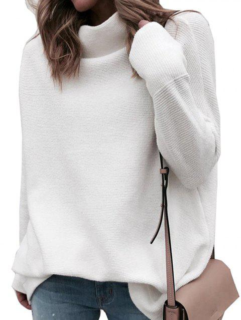 Women Cowl Neck Ribbed Long Sleeve Knit Pullover Sweater - WHITE XL