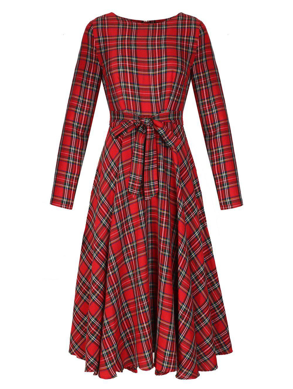Round Neck Long Sleeve Mid-length Plaid Dress - RED L