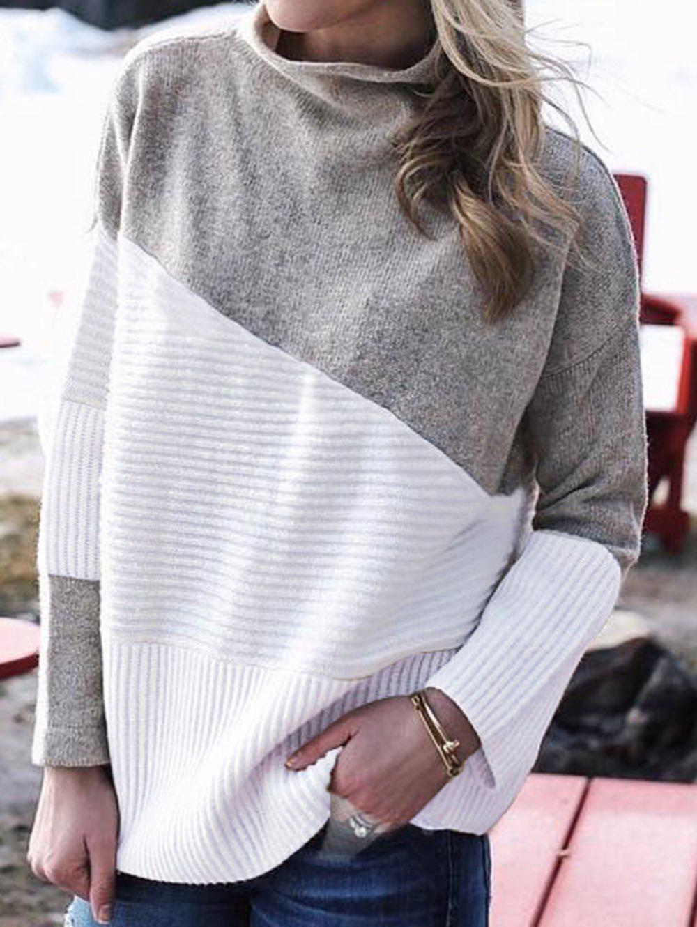 Women Cowl Neck Color Block Long Sleeve Knit Pullover Sweater - GRAY XL