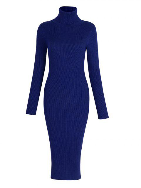 Elastic Turtleneck Long Sleeve Bodycon Slim Midi Knitted Dress - BLUE ONE SIZE