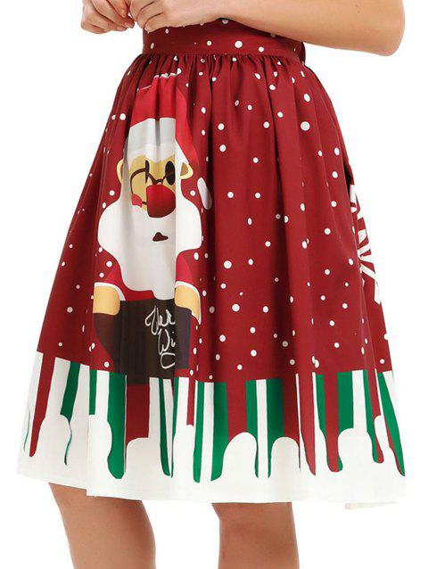 Womens Christmas Floral Print Pleated Vintage Skirts - RED WINE XL