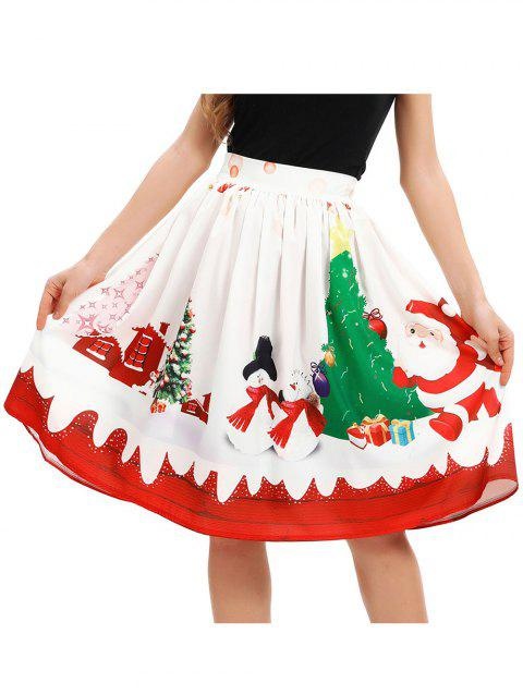 Womens A-Line Pleated Vintage Christmas Skirts - WHITE L