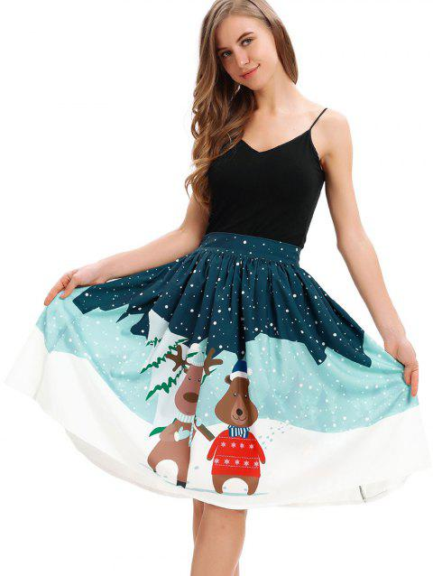 Women Ugly Christmas Printed Stretchy Flared Mini Skater Skirt - BLUE M