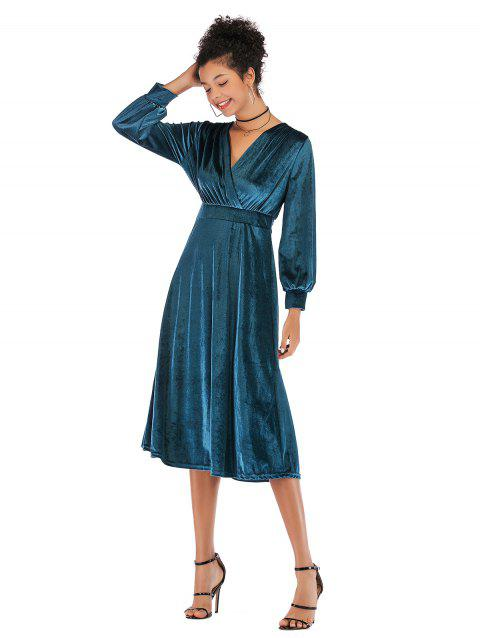 Lady V Collar Long Sleeve Velvet Dress - PEACOCK BLUE M