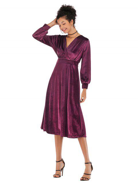 Lady V Collar Long Sleeve Velvet Dress - RED WINE XL