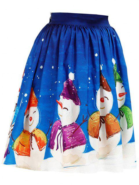 Womens Christmas Floral Midi Skirts High Wais  Party Prom Skirt - BLUE M