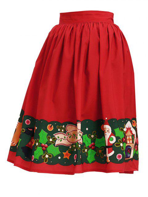Women High Waist Christmas Printed Pleated Flared Midi Skirts - RED L