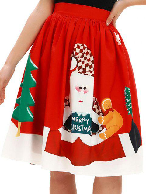 Womens Christmas Skirt Party Christmas Printed Pleated Flared Midi Skirts - RED L