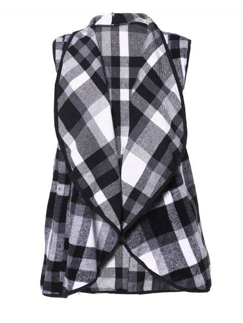 Plaid Lapel Sleeveless Cape Woolen Vests Coat - 003 XL