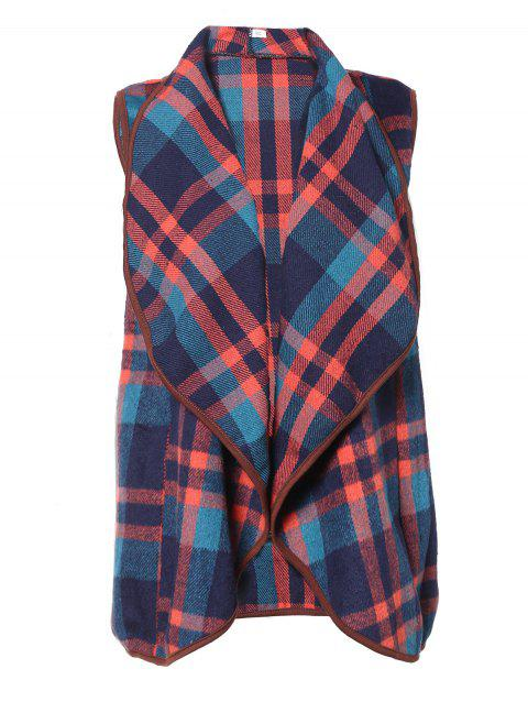 Plaid Lapel Sleeveless Cape Woolen Vests Coat - 004 2XL