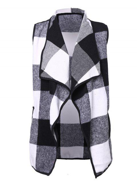 Plaid Lapel Sleeveless Cape Woolen Vests Coat - 006 L