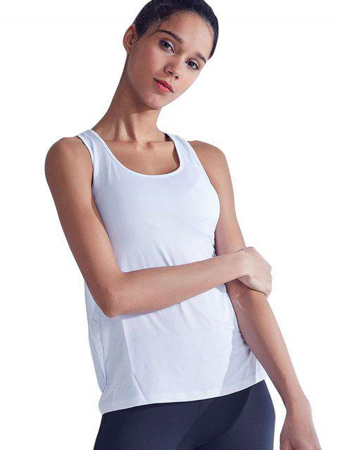 Quick-Drying Hollow Stitching Breathable Yoga Vest - WHITE L