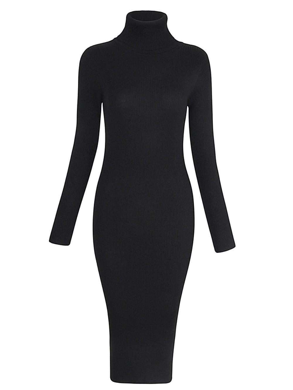 Elastic Turtleneck Long Sleeve Bodycon Slim Midi Knitted Dress - BLACK ONE SIZE