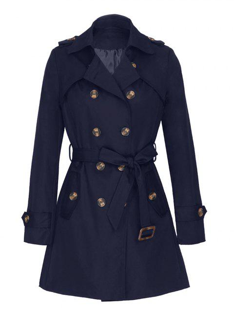 Women Medium Long Trench Coat - ROYAL BLUE XL