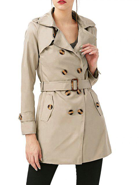 Women Medium Long Trench Coat - LIGHT KHAKI M