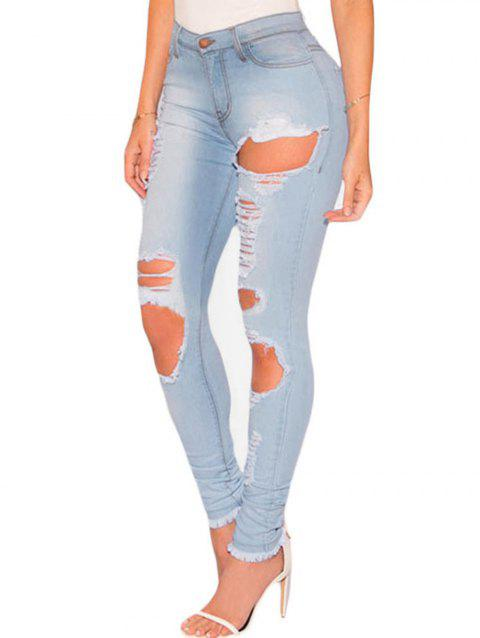 Women High Waisted Skinny Jeans Destroyed Ripped Hole Denim Pants - LIGHT BLUE S