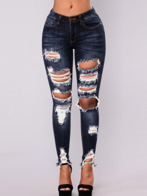 Womens High Waisted Skinny Destroyed Ripped Hole Denim Pants Pencil Jeans - DEEP BLUE S