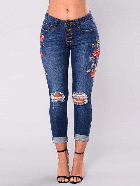 Women High Waisted Embroidered Skinny  Destroyed Ripped Hole Jeans - DEEP BLUE XL