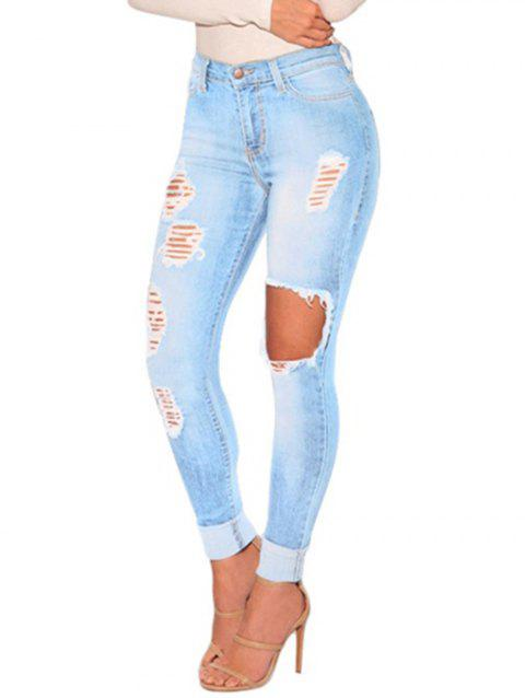 Women Juniors Distressed Ripped  Skinny Denim Ankle Length Jeans - LIGHT BLUE L