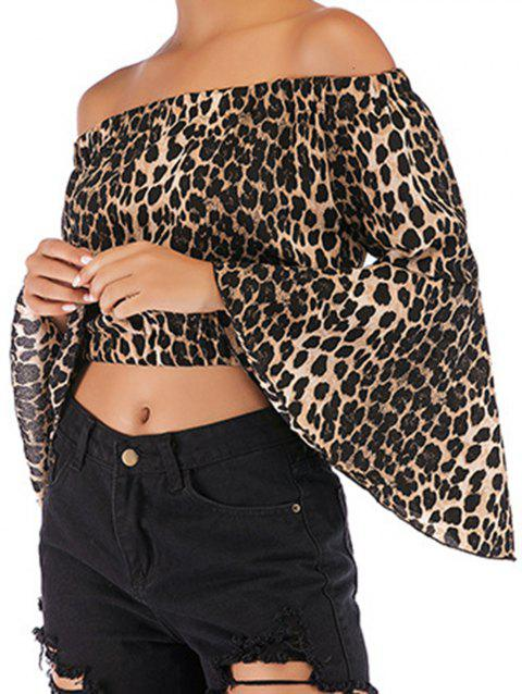 Women Fashion Off Shoulder Tops Sexy Leopard Print Crop Tops - APRICOT L