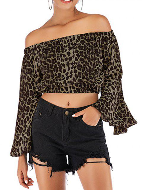 Women Fashion Off Shoulder Tops Sexy Leopard Print Crop Tops - ARMY GREEN L