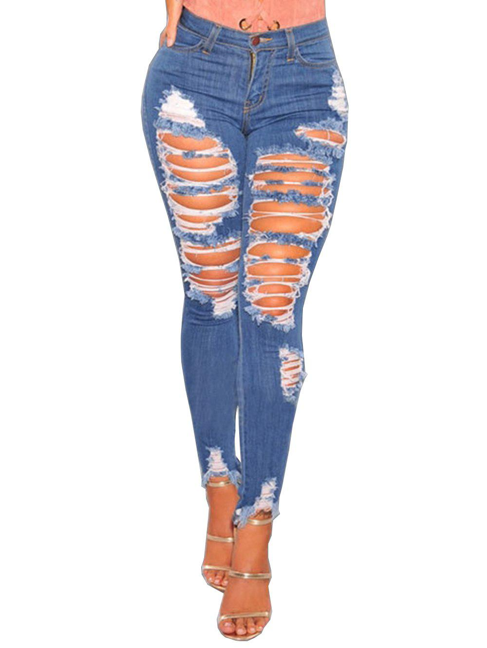 Women Casual Destroyed Ripped Distressed Skinny Denim Jeans - BLUE M