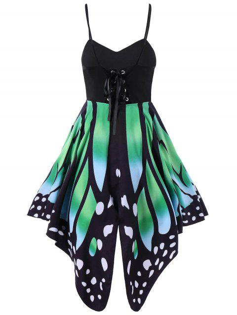 Women's Butterfly Shape Print   Summer Strapy Lace Up Back Skater Dress  A-Line dress - ALGAE GREEN M