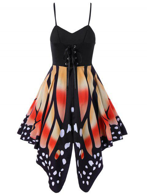 Women's Butterfly Shape Print   Summer Strapy Lace Up Back Skater Dress  A-Line dress - SUN YELLOW S